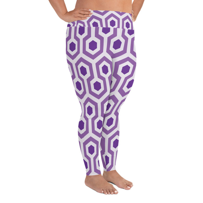 Purple Pentogram Plus Size Yoga Leggings (up to 6XL ) - Cool XL Leggings - Women's Plus Sized Yoga Leggings – Plus Size Workout Pants – Plus Sized Gym Leggings