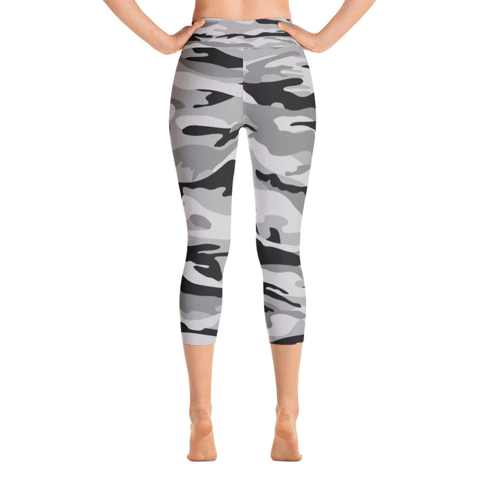 Classic Black and Grey Camo Yoga Capri Leggings