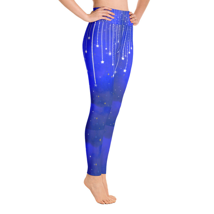 Blue Falling Star Yoga Leggings