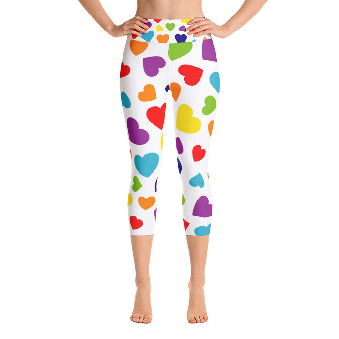 Rainbow Hearts Yoga Capri Leggings