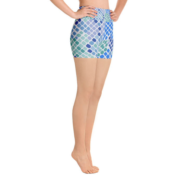 Cute Snake Pattern Blue and Green Yoga Shorts