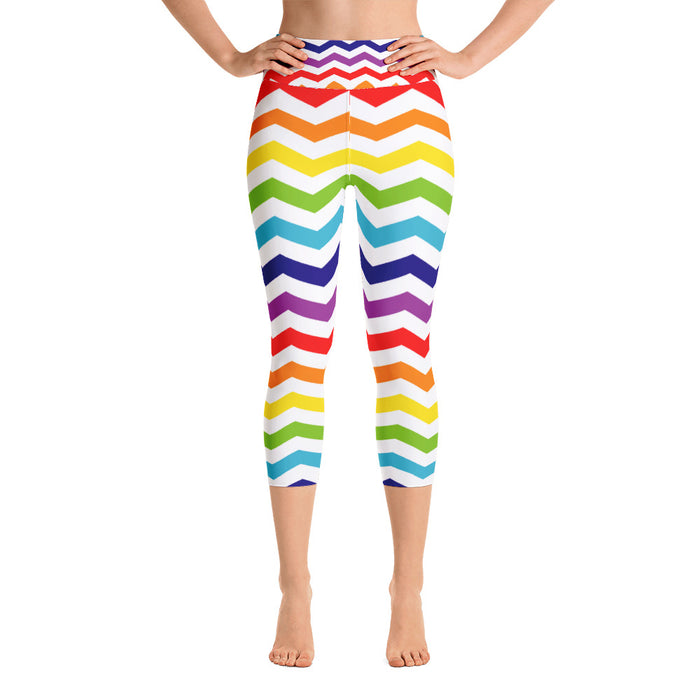 Rainbow Zig Zag Yoga Capri Leggings