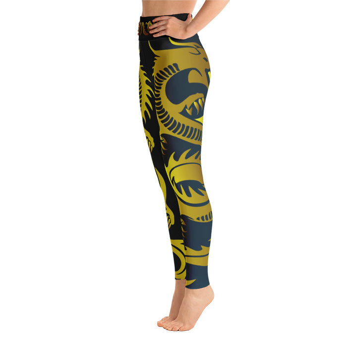 Cute Gold and Black Dragon Yoga Leggings