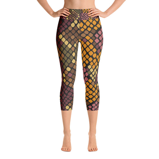 Orange Brown Yoga Capri Leggings