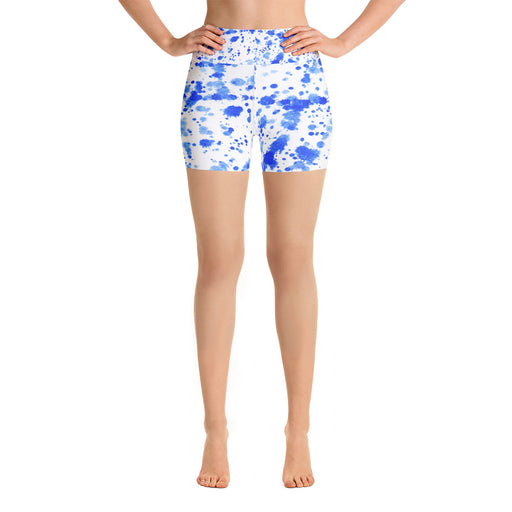 Blue Spatter Yoga Shorts