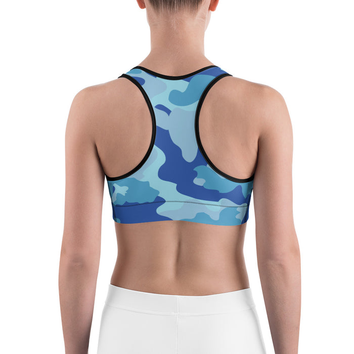 Cute Blue Camo Sports Bra