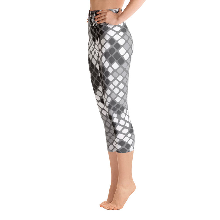 White Snake Pattern Yoga Capri Leggings