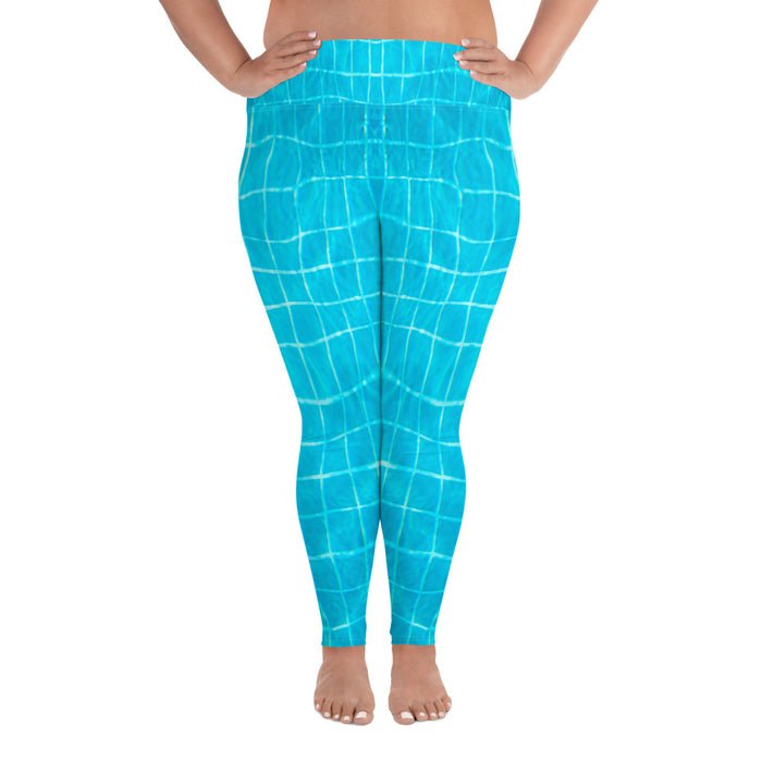 Swimming Pool Effect Plus Size Yoga Leggings (up to 6XL ) - Cool XL Leggings - Women's Plus Sized Yoga Leggings – Plus Size Workout Pants – Plus Sized Gym Leggings