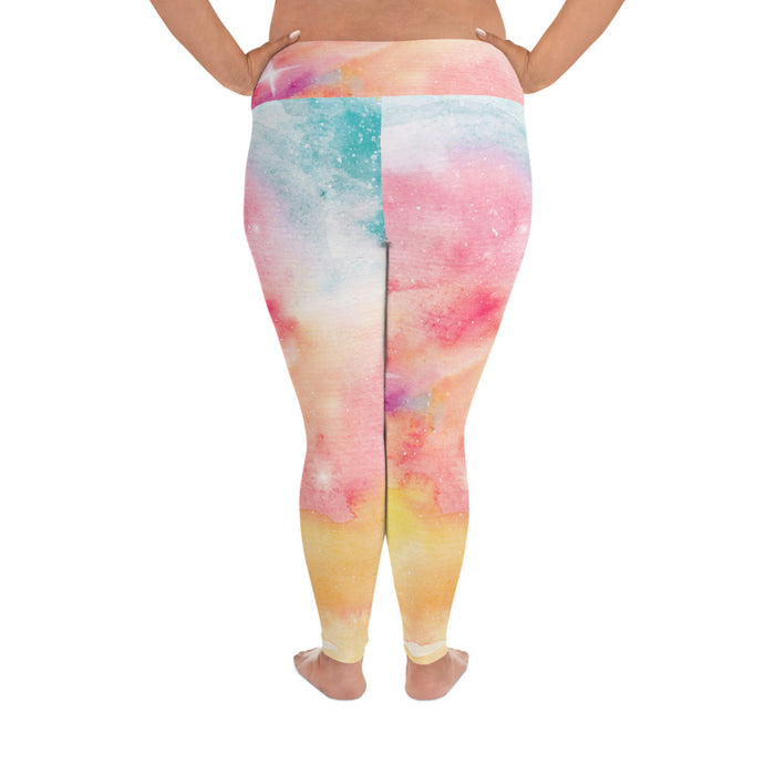 Cute Watercolor Plus Size Yoga Leggings (up to 6XL ) - Cool XL Leggings - Women's Plus Sized Yoga Leggings – Plus Size Workout Pants – Plus Sized Gym Leggings