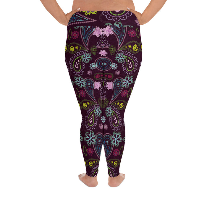 Cute Floral Pattern Plus Size Yoga Leggings (up to 6XL ) - Cool XL Leggings - Women's Plus Sized Yoga Leggings – Plus Size Workout Pants – Plus Sized Gym Leggings