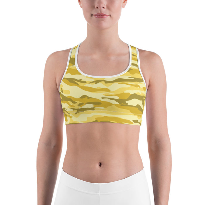 Yellow Camo Sports Bra