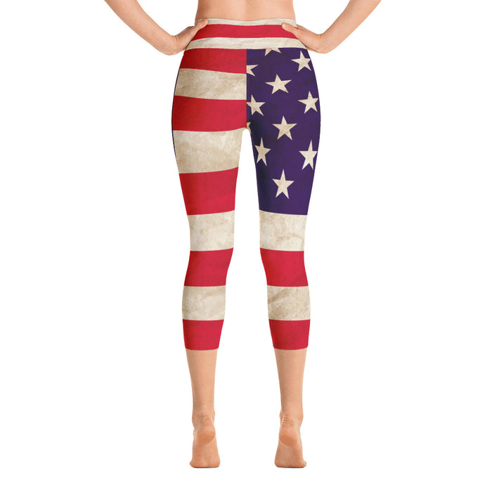 Cute US Flag Yoga Capri Leggings