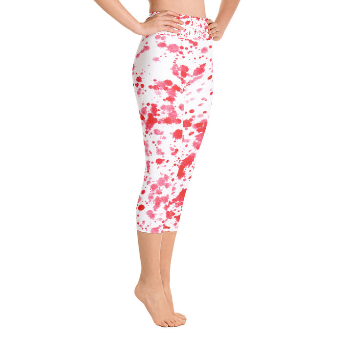 Red Spatter Yoga Capri Leggings
