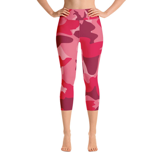 Red Camo Yoga Capri Leggings