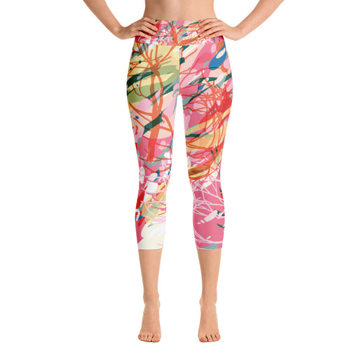 Pink Color Splash Yoga Capri Leggings