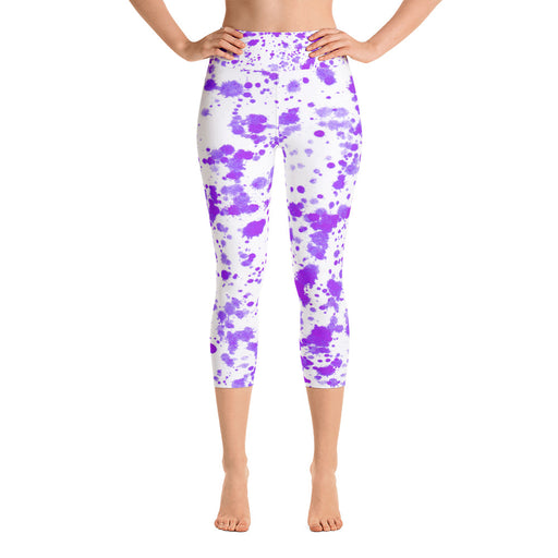 Cute Purple Spatter Yoga Capri Leggings