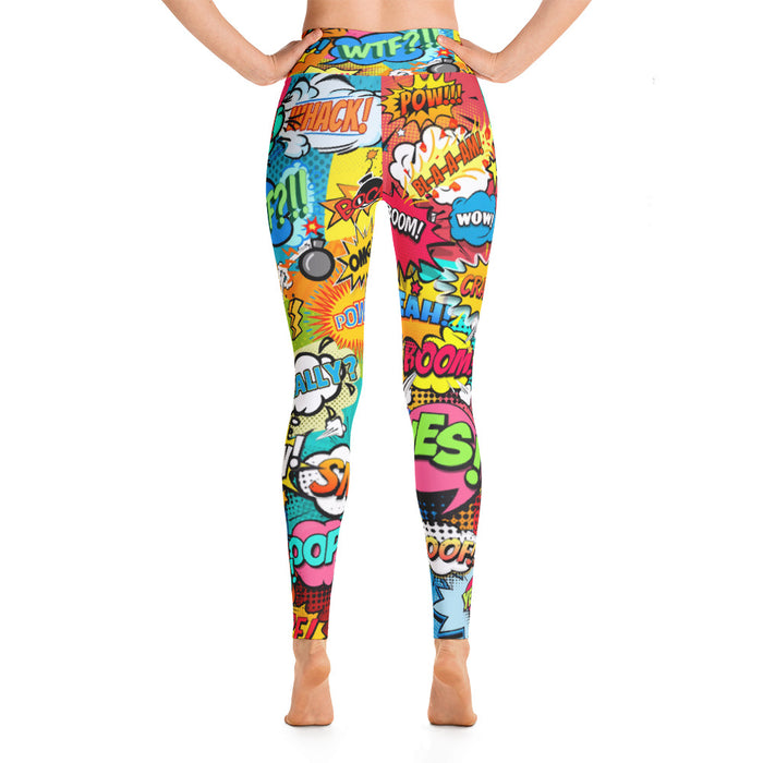 Cute Comicbook Yoga Leggings