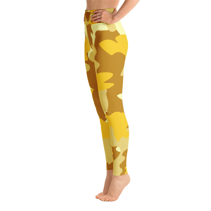 Cute Yellow Gold Camo Yoga Leggings