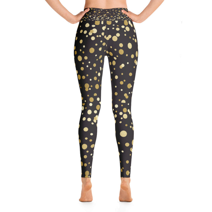 Cute Black and Gold Spotty Yoga Leggings