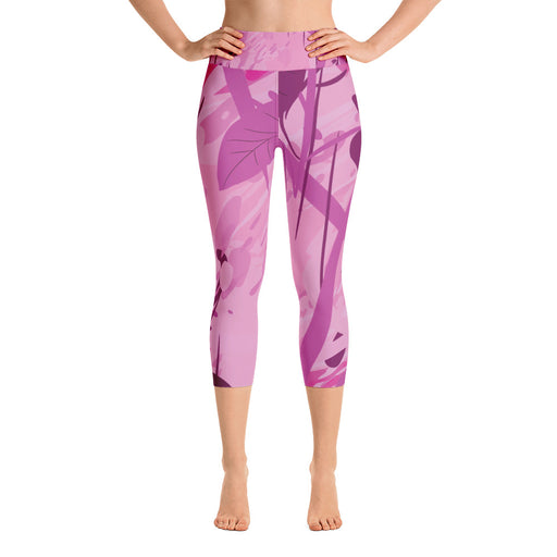 Purple Color Splash Yoga Capri Leggings