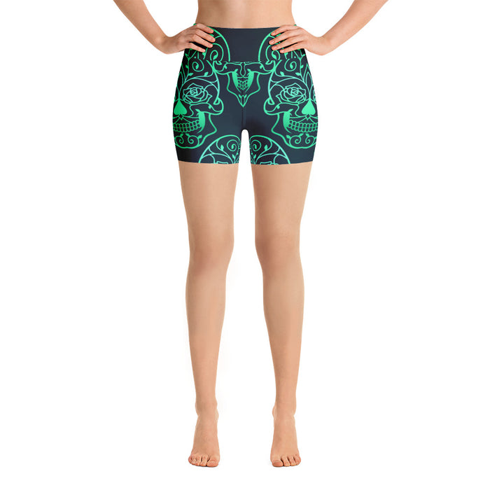 Green Sugar Skull Yoga Shorts