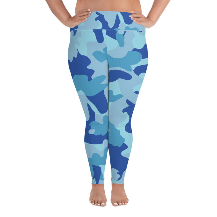 Cute Blue Camo Plus Size Yoga Leggings (up to 6XL ) - Cool XL Leggings- Women's Plus Sized Yoga Leggings –Plus Size Workout Pants –Plus Sized  Gym Leggings