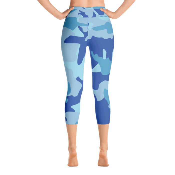 Cute Blue Camo Yoga Capri Leggings