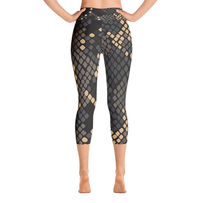 Black and gold Snake Print Yoga Capri Leggings