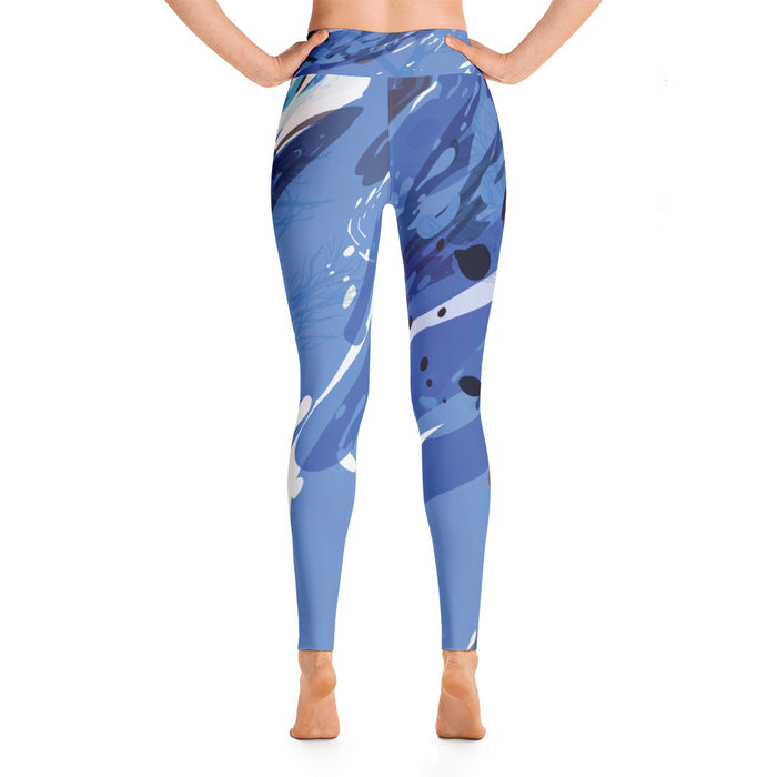 Blue Color Splash Yoga Leggings