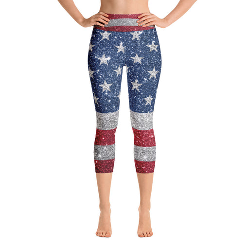 Cute US Flag Glitter Yoga Capri Leggings