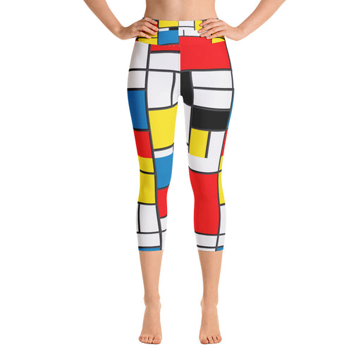 Mondrian Pattern Yoga Capri Leggings