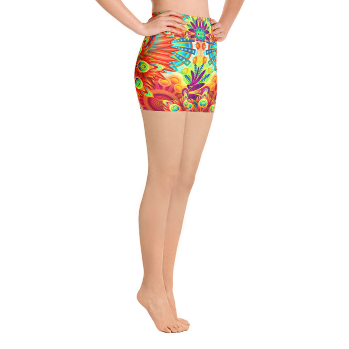 Funky Psychedelic Themed Yoga Shorts