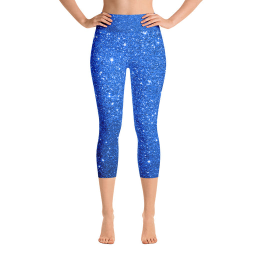 Blue Glitter Yoga Capri Leggings