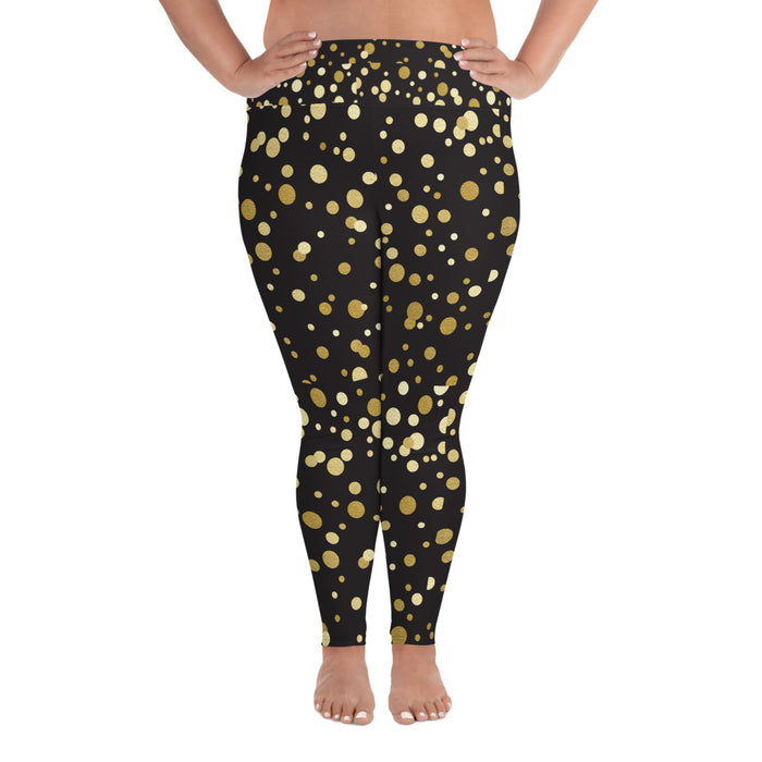 Cute Black and Gold Spotty Plus Size Yoga Leggings (up to 6XL ) - Cool XL Leggings - Women's Plus Sized Yoga Leggings – Plus Size Workout Pants – Plus Sized Gym Leggings