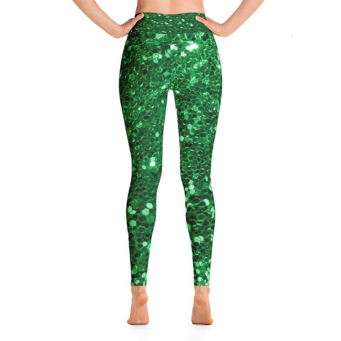 Green Glitter Pattern 2 Yoga Leggings
