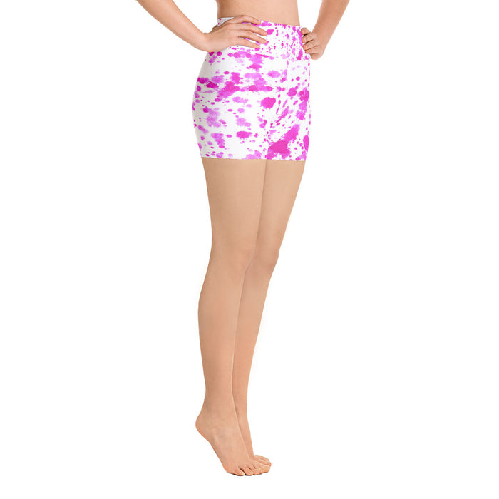 Pink Spatter Yoga Shorts