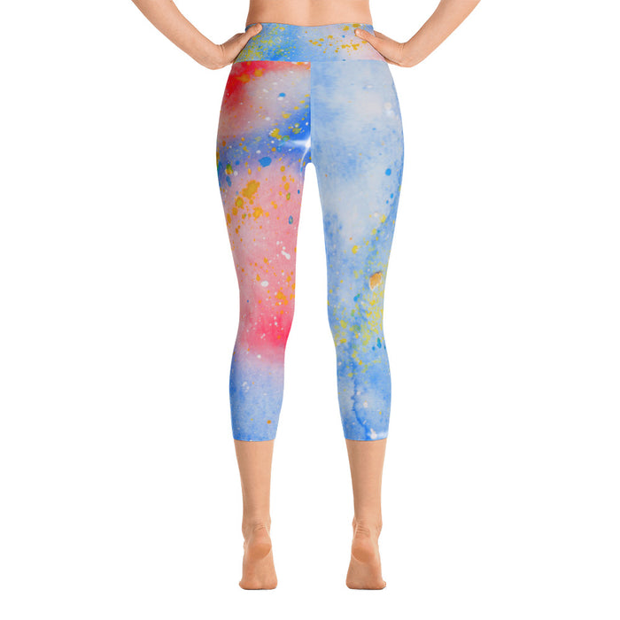 Blue Watercolor Yoga Capri Leggings