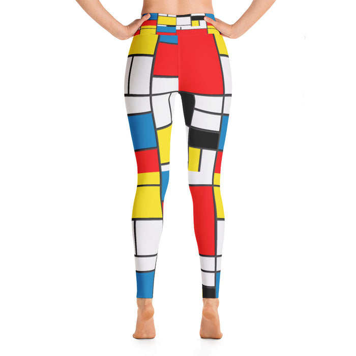 Mondrian Pattern Yoga Leggings