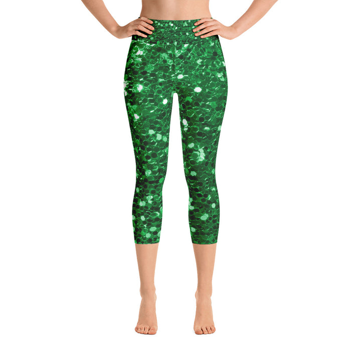 Green Glitter Print Yoga Capri Leggings