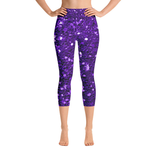 Purple Glitter Pattern Yoga Capri Leggings