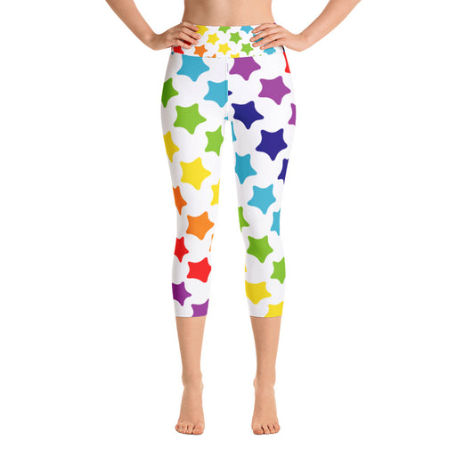 Rainbow Stars Yoga Capri Leggings