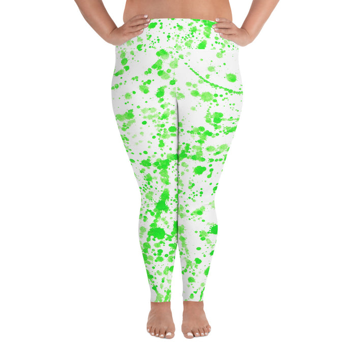 Green Spatter Plus Size Yoga Leggings (up to 6XL ) - Cool XL Leggings- Women's Plus Sized Yoga Leggings –Plus Size Workout Pants –Plus Sized  Gym Leggings