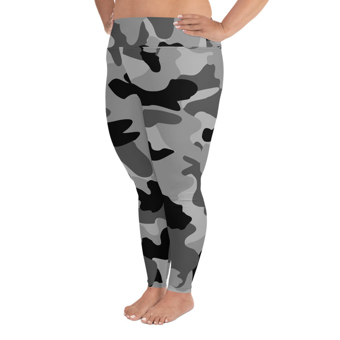 Cute Black Camo Plus Size Yoga Leggings (up to 6XL ) - Cool XL Leggings- Women's Plus Sized Yoga Leggings –Plus Size Workout Pants –Plus Sized  Gym Leggings
