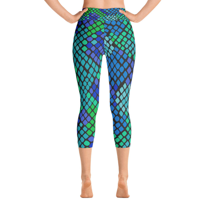 Cute Blue Green Snake Print Yoga Capri Leggings