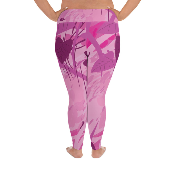 Pink Color Splash Plus Size Yoga Leggings (up to 6XL ) - Cool XL Leggings- Women's Plus Sized Yoga Leggings –Plus Size Workout Pants –Plus Sized  Gym Leggings
