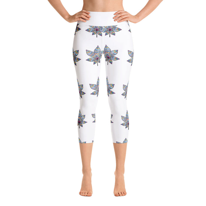Mandala Leaves Yoga Capri Leggings - Original Design by Meli
