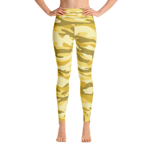 Cute Yellow Camo Yoga Leggings