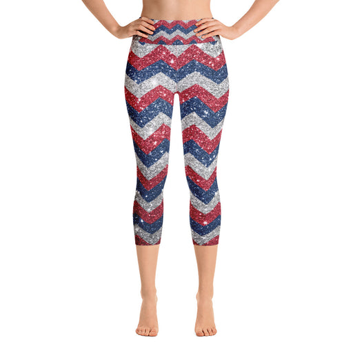 Cute July 4th GlitterPrint Yoga Capri Leggings