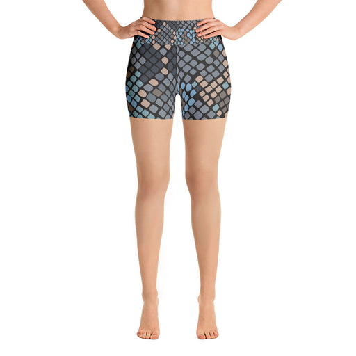 Cute Snake Pattern Black and Blue Yoga Shorts