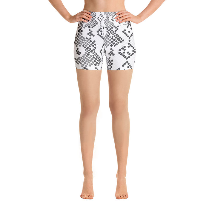 Black White & Grey Snake Pattern Yoga Shorts